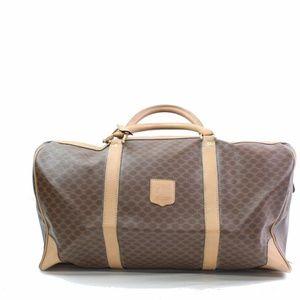 e2bc952224 Celine Macadam PVC Brown Boston Travel Bag 10906